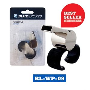 Sifflet Blue Sports en laiton avec attache pour doigt / Blue Sports metal whistle Grand / Large